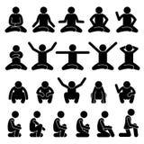 Les personnes humaines d'homme s'asseyant et s'accroupissant sur le plancher posent le chiffre icônes de bâton de postures de pic Photographie stock libre de droits