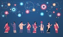 Les personnes indiennes de diwali heureux groupent la bande dessinée indoue de port de concept de célébration de femme d'homme de illustration de vecteur
