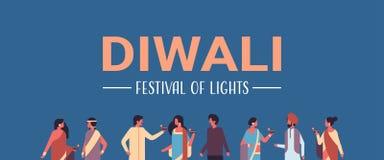 Les personnes indiennes de diwali heureux groupent les vêtements traditionnels nationaux de port tenant la célébration indoue de  illustration stock