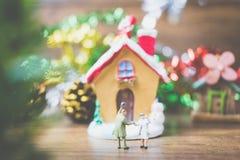 Les personnes miniatures dans le village célèbrent le jour de Noël, Holida Photographie stock