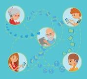 Les personnes plates de style de famille font face à des communications sociales en ligne de media Photographie stock