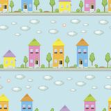 Les petites maisons multicolores avec des fenêtres sur un fond bleu d'une rue avec les buissons verts d'arbres met des boîtes hor illustration libre de droits