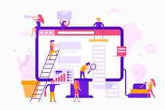 Les petites personnes autour d'un moniteur rendent un site Web infographic Concept d'affaires de travail d'équipe Travailleurs d' illustration de vecteur