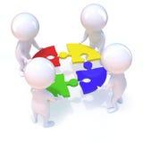 les petits hommes 3d résolvent un puzzle illustration stock