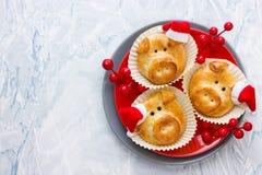 Les petits pains de pain de porc, idée drôle de cuisson ont formé les visages porcins mignons images libres de droits