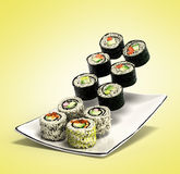 Les petits pains de sushi ont servi d'un plat 3d rendent dans le gradient Images libres de droits