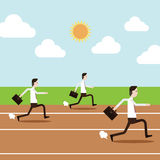 Les peuples d'affaires courent dans le champ de courses Image libre de droits