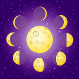 Les phases jaunes de lune de bande dessinée sur le fond bleu avec briller se tient le premier rôle Images libres de droits