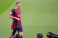 Les photographes prennent les photos d'Andres Iniesta, F Joueur de C Barcelone, au stade de Camp Nou Photographie stock libre de droits