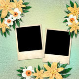 Les photos dans le style d'un polaroïd sur le vintage fleurissent le backgr Photos libres de droits