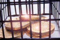 Les pièces d'or brillantes sont fermées à clef dans une cage Images libres de droits