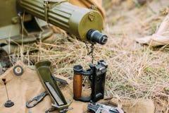 Les pièces de la mitrailleuse du ` s de maxime Disassembled modèlent 1910 30 P.M. M1910 Photos libres de droits