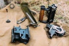 Les pièces de la mitrailleuse du ` s de maxime Disassembled modèlent 1910 30 P.M. M191 Photos libres de droits