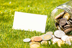 Les pièces de monnaie au pot en verre pour l'argent sur l'herbe verte Image libre de droits