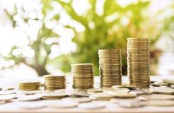 Les pièces de monnaie d'argent empilent l'élevage avec le vert et la lumière du soleil Photos libres de droits