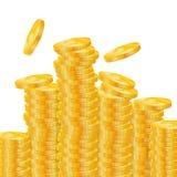 Les pièces de monnaie d'or dirigent l'illustration sur un fond blanc Photo libre de droits