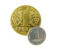 Les pièces de monnaie d'Ukrainien Images libres de droits