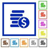 Les pièces de monnaie du dollar ont encadré les icônes plates Image stock