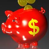 Les pièces de monnaie entrant dans la tirelire affiche les produits américains Image stock