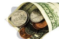 Les pièces de monnaie et les dénominations d'Américain Photos stock