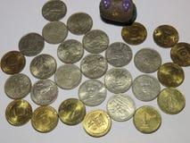 Les pièces de monnaie de la Russie ont consacré à de diverses dates mémorables photos stock