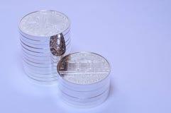 Les pièces de monnaie philharmoniques argentées Photos stock