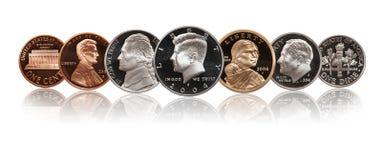 Les pièces de monnaie de preuve des Etats-Unis ont placé d'isolement sur le blanc image stock