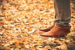 Les pieds équipent la marche sur des feuilles de chute extérieures Images stock
