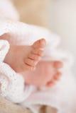 Les pieds d'un bébé nouveau-né dans la mère adoucissent des mains Photo stock
