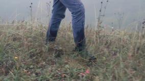 Les pieds du ` s d'homme monte sur l'herbe humide en brouillard, fin clips vidéos