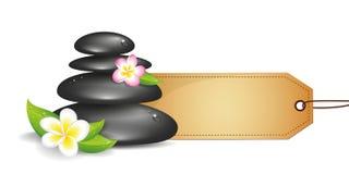 Les pierres noires avec le frangipani blanc et rose fleurit le label de papier illustration de vecteur