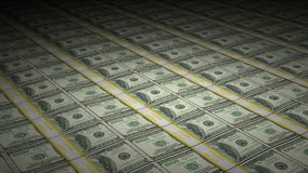 Les piles animées de cent billets d'un dollar tournent banque de vidéos