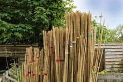 Les piles de cannes de jardinage dans une ferme font des emplettes Images stock