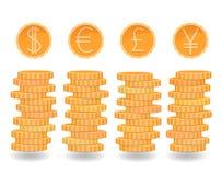 Les piles de pièces de monnaie, dollar, euro, livre, Yen invente, différentes devises, pièces de monnaie d'or, rouleau d'argent e illustration stock