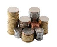 Les piles des pièces de monnaie Photographie stock