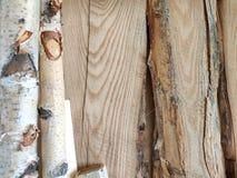 Les piliers en bois et les conseils épais dans l'atelier de meubles sont prêts à travailler le menuisier photo stock
