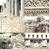 Les piliers, les ornements et les bâtiments ruinés ont placé de Photo libre de droits