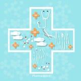 Les pilules d'instruments médicaux de médecine marque sur tablette des capsules dans la croix Images stock