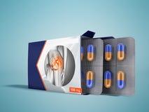Les pilules dans le paquet ouvrent deux plats avec des capsules de joi de douleur illustration libre de droits