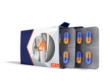 Les pilules dans le paquet ouvrent deux plats avec des capsules des joints de douleur 3d que bleus rendent sur le fond blanc illustration de vecteur