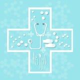 Les pilules de soins de santé de médecine et de recherches médicales marque sur tablette des capsules Images libres de droits