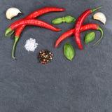 Les piments d'un rouge ardent de poivrons de piment faisant cuire des ingrédients ajustent le copyspac Photographie stock libre de droits