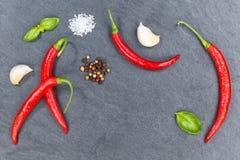 Les piments d'un rouge ardent de poivrons de piment faisant cuire des ingrédients slate le backgroun Image stock