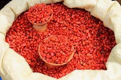 Poivrons secs à un marché mexicain d'agriculteurs Photographie stock libre de droits
