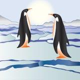 Les pingouins parmi glace Photos libres de droits