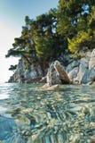 Les pins au-dessus de la mer bascule au-dessus de l'eau clair comme de l'eau de roche de turquoise, la plage de Mia de maman de K Photographie stock libre de droits