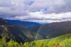 Les pins de paysage de montagne s'approchent de la vallée et de la forêt colorée sur le flanc de coteau Images libres de droits
