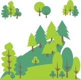 Les pins et les arbres de forêt dans la montagne aménagent en parc Image libre de droits