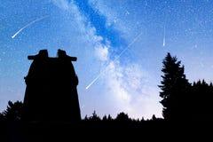 Les pins silhouettent des étoiles filantes d'observatoire de manière laiteuse Photos stock