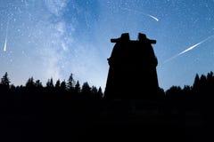 Les pins silhouettent des étoiles filantes d'observatoire de manière laiteuse Images libres de droits